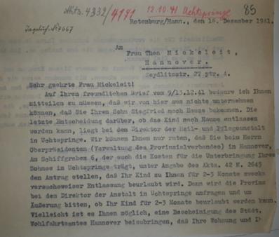 Antwort von Pastor Buhrfeind an die Mutter von Siegfried Mickeleit (ARW VA 136)