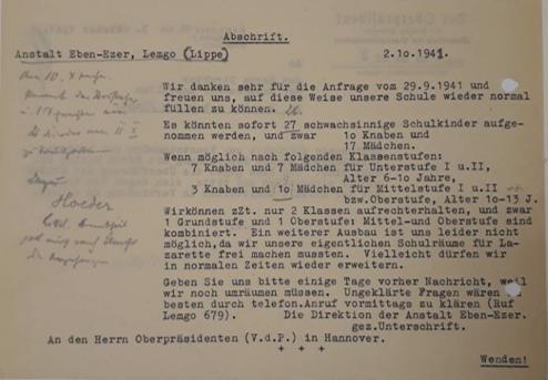 Schreiben der Anstalt Eben-Ezer an den Oberpräsidenten in Hannover zur Aufnahme von Kindern aus Rotenburg (ARW VA 137)