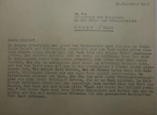 Pastor Unger richtet an die nach Eben-Ezer verlegten Kinder an Weihnachten 1943 einen Brief. (ARW VA 137)