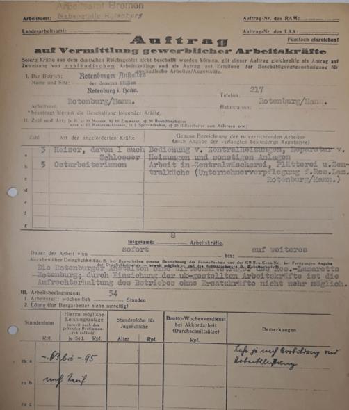 """Die Rotenburger Anstalten fordern beim Arbeitsamt Verden fünf """"Ostarbeiterinnen"""" für Zentralwäscherei, Plätterei und Zentralküche an. Arbeitskräfte seien zur Wehrmacht eingezogen worden, sodass """"die Aufrechterhaltung des Betriebes ohne Ersatzkräfte nicht mehr möglich"""" sei. 12. Februar 1943 (ARW VA 1406)"""