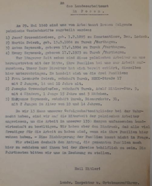 Der landwirtschaftliche Inspektor der Rotenburger Anstalten und Ortsbauernführer bemüht sich in seinem Schreiben an das Landesarbeitsamt Posen um den Nachzug der Familien von vier polnischen Zivilarbeitern. (ARW VA 1407)