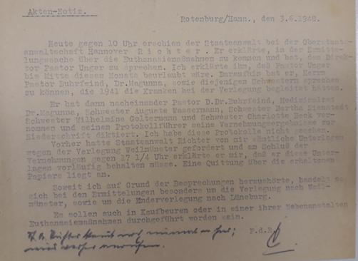 Notiz zu den Vernehmungen von Verantwortlichen der Rotenburger Anstalten und des Diakonissen-Mutterhauses 1948. Die Akten befinden sich im Niedersächsischen Landesarchiv. (ARW VA 1538)