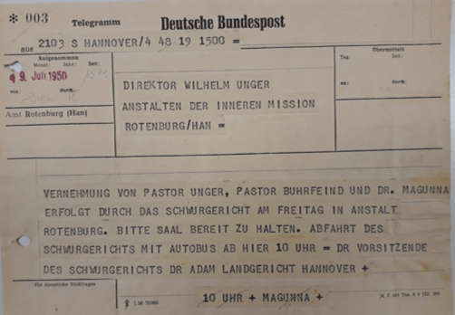 Telegramm, in dem Vernehmungen vor einem Schwurgericht in Rotenburg angekündigt werden (ARW VA 546)