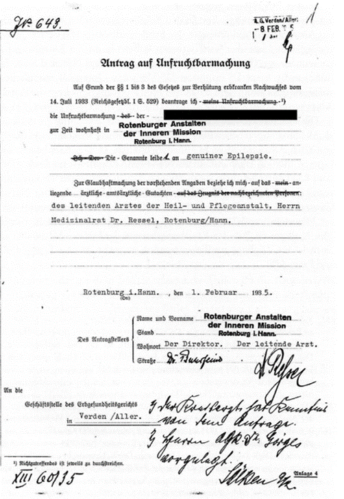 Der Antrag auf Unfruchtbarmachung ist von Pastor Buhrfeind als Leiter der Rotenburger Anstalten sowie Dr. Ressel als leitendem Anstaltsarzt unterzeichnet. (Nds. Landesarchiv Stade, Rep. 138 Stade, Nr. 1270)