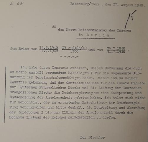 """Die Bedeutung der Meldebogen für die """"sogenannte Ausmerzung der Gemeinschaftsunfähigen"""" muss der Direktion der Rotenburger Anstalten bekannt gewesen sein. (ARW VA 661)"""