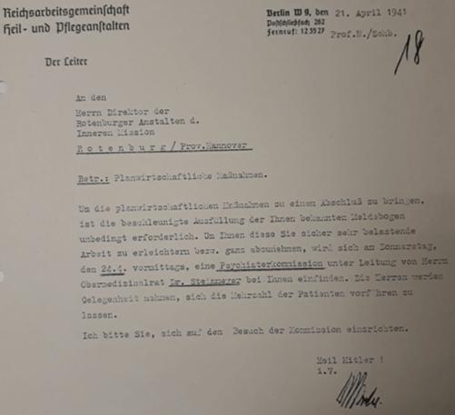 Schreiben der Reichsarbeitsgemeinschaft Heil- und Pflegeanstalten an die Direktion der Rotenburger Anstalten, in dem das Eintreffen der Gutachter im April 1941 angekündigt wird (ARW VA 1538)