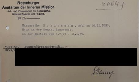 Von Dr. Wening – Nachfolger des Mitte 1937 verstorbenen Dr. Rustige – unterzeichneter Vermerk zur Sterilisation einer Rotenburger Patientin, die in Bremen sterilisiert wurde, bevor sie in eine offene Anstalt verlegt werden konnte (ARW BA 2664)